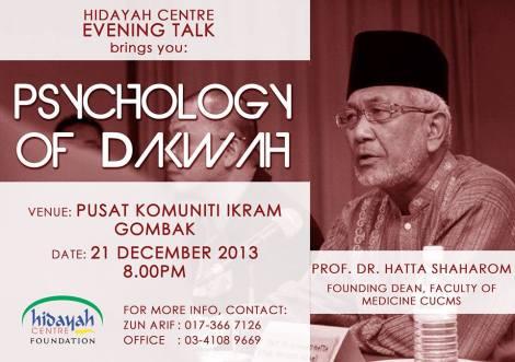 HIDAYAH CENTRE EVENING TALK: PSYCHOLOGY OF DAKWAH